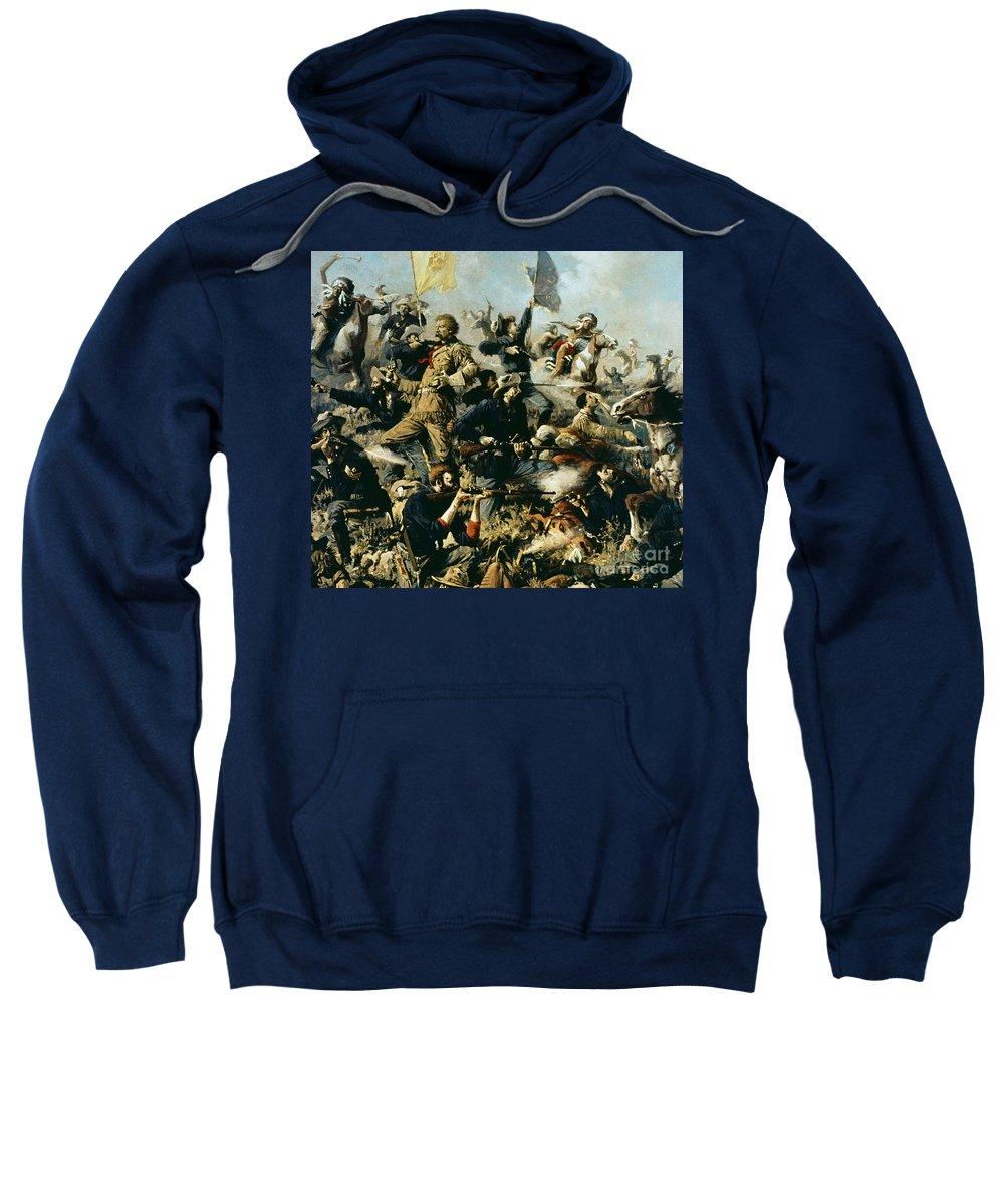 Battle Of Little Bighorn Sweatshirt featuring the painting Battle Of Little Bighorn by Edgar Samuel Paxson