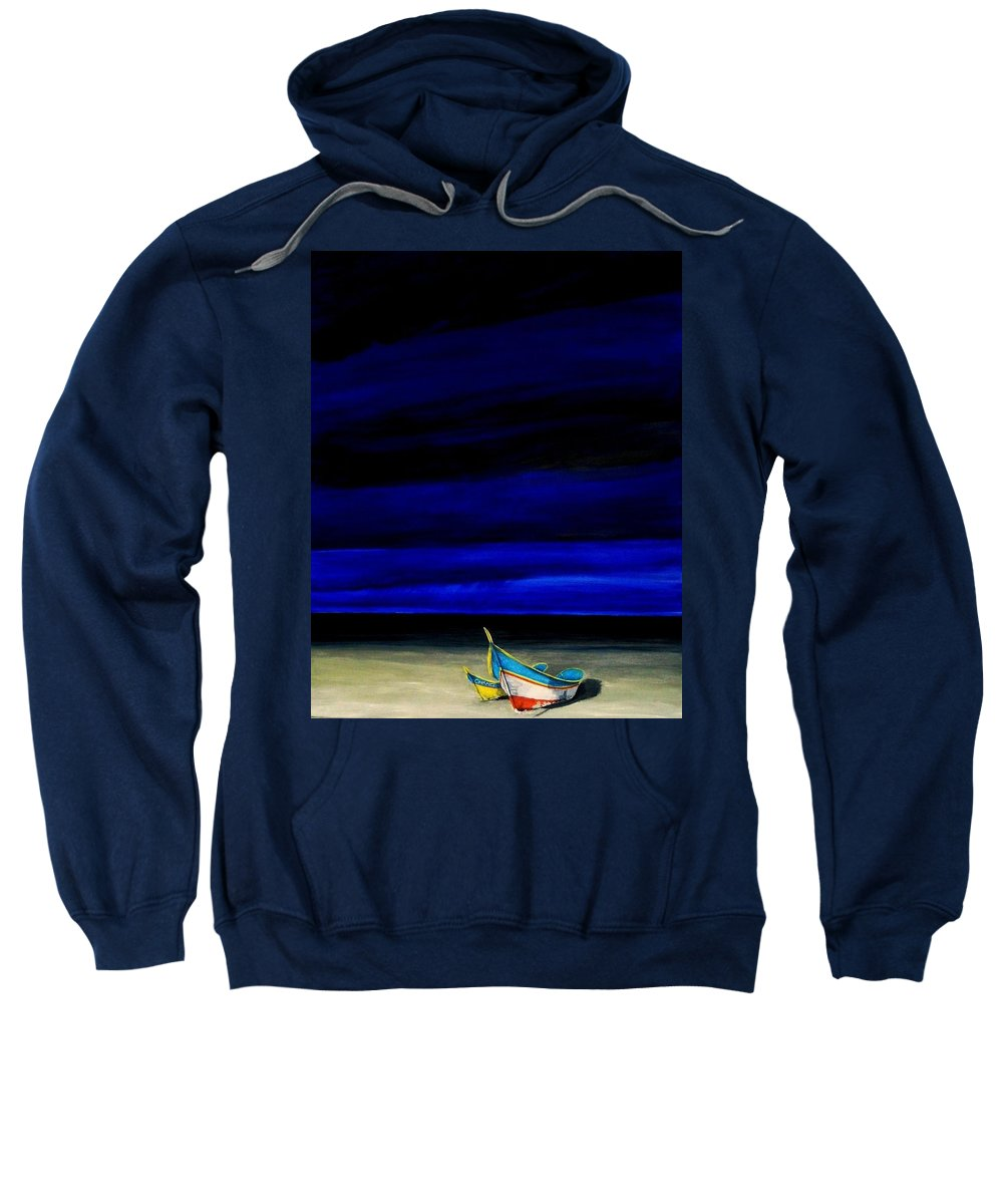 Landscape Painting Sweatshirt featuring the painting Beached by Edith Peterson-Watson
