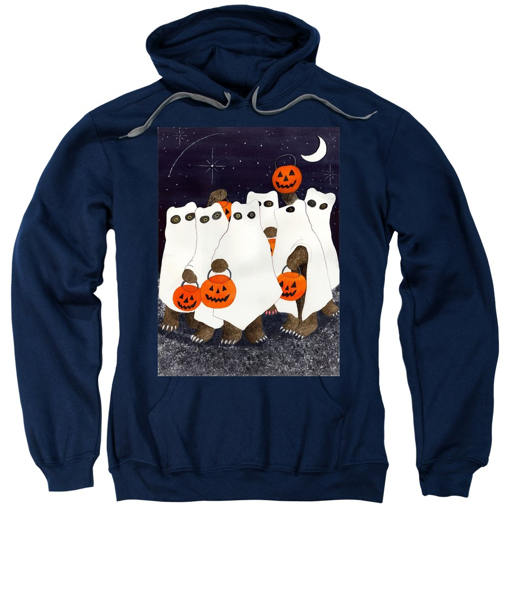 Halloween Sweatshirt featuring the painting Bear's Freebie Night by Catherine G McElroy