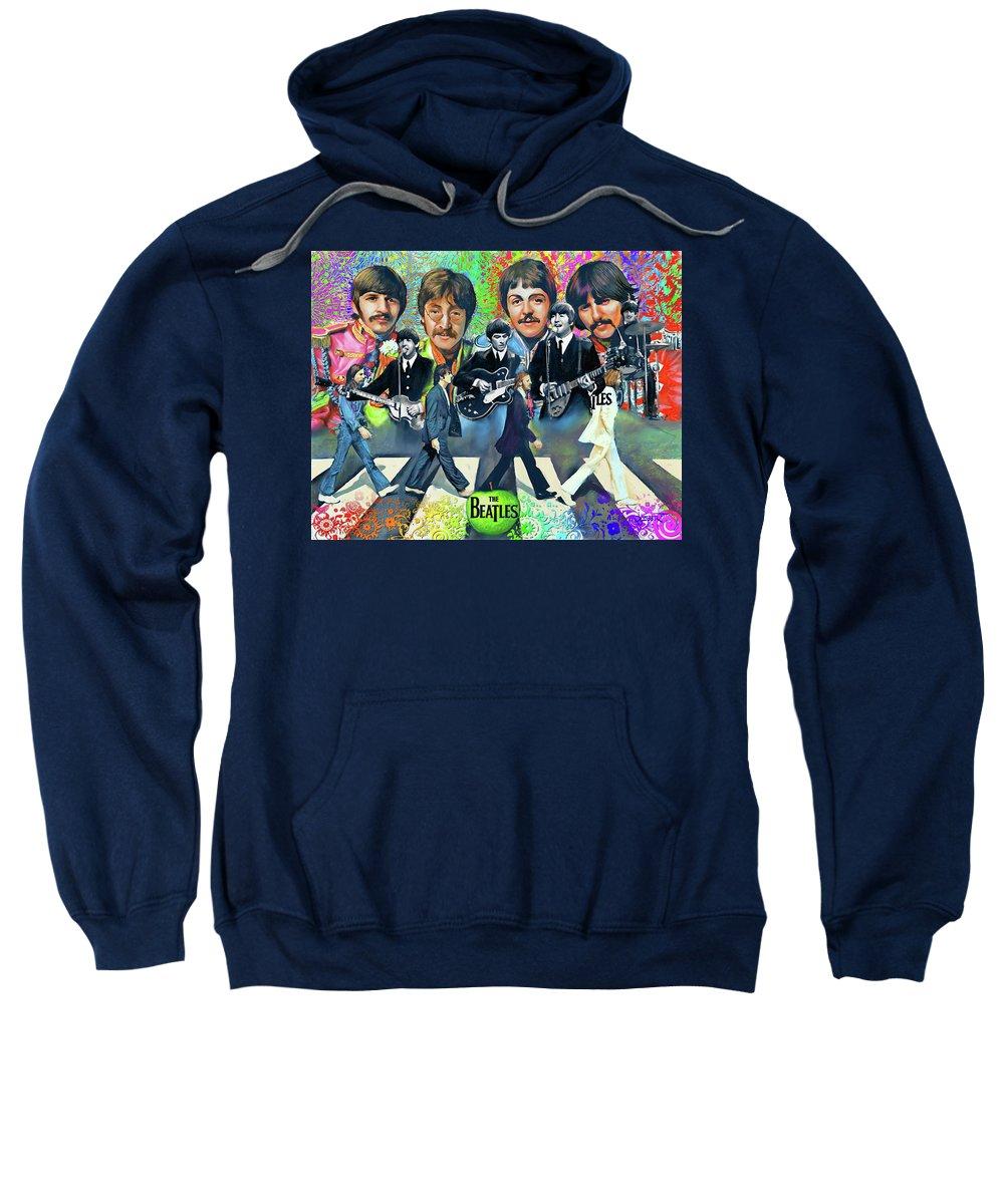 Fan Sweatshirt featuring the digital art Beatles Fan Art by Dave Luebbert