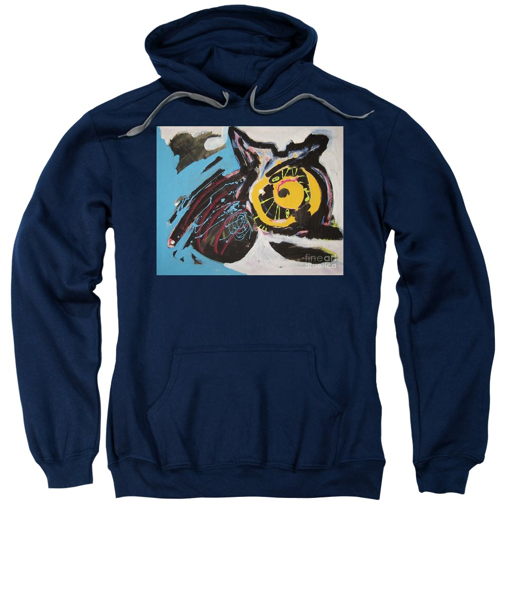 Abstract Cat Paintings Sweatshirt featuring the painting Being Lazy by Seon-Jeong Kim