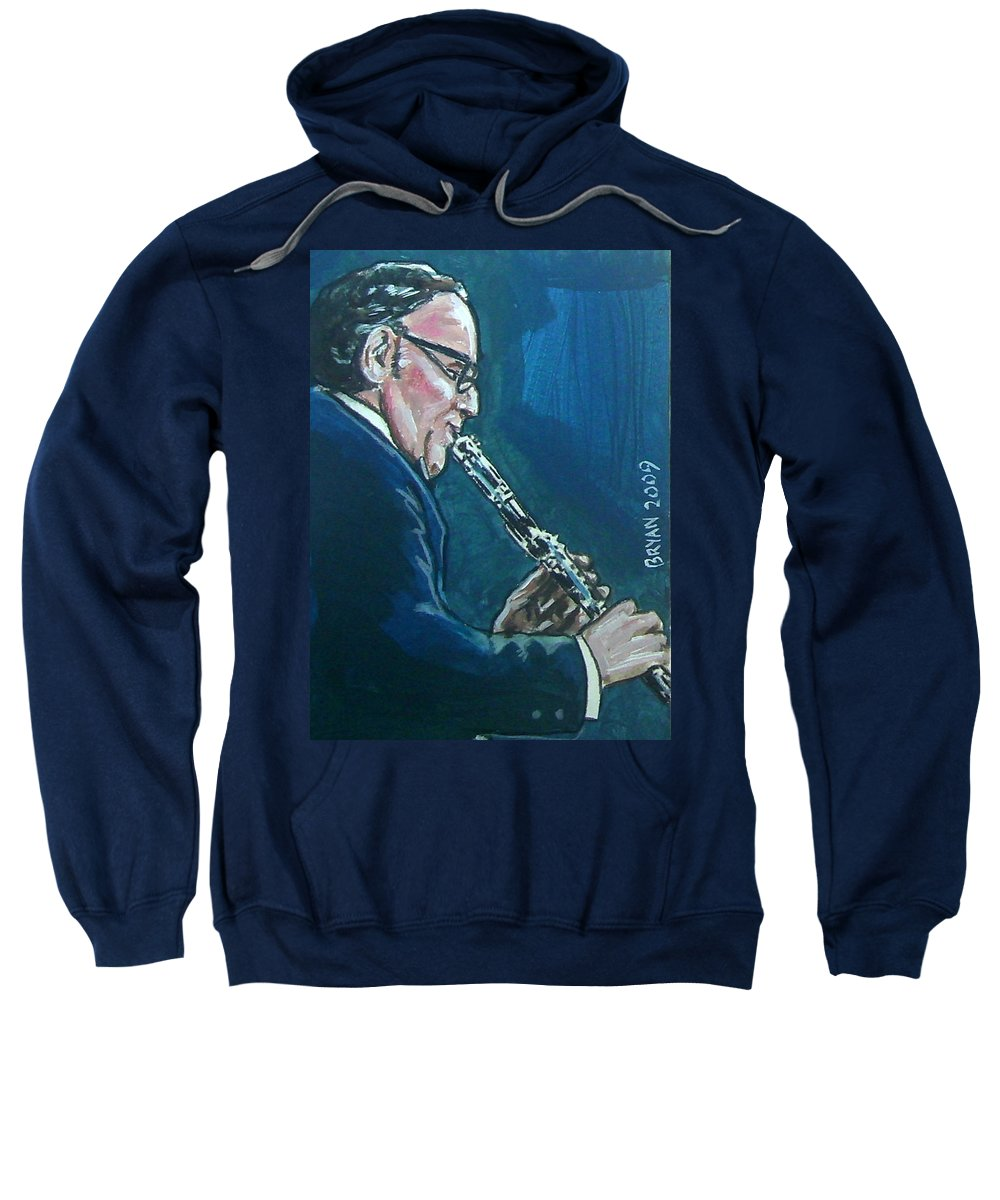 Benny Goodman Sweatshirt featuring the painting Benny Goodman by Bryan Bustard