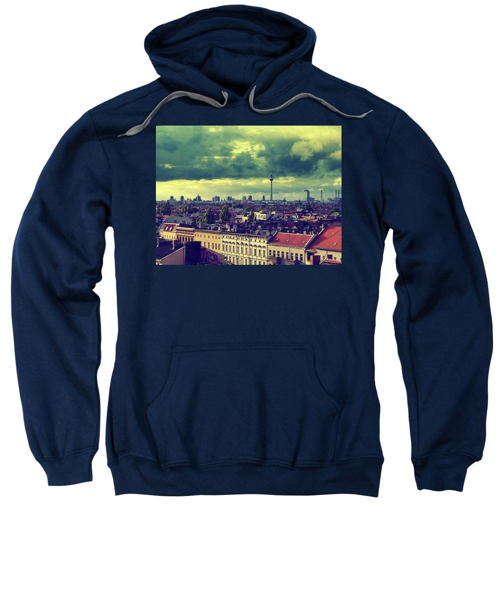 Berlin Sweatshirt featuring the photograph Berlin Skyline And Roofscape by Alexander Voss