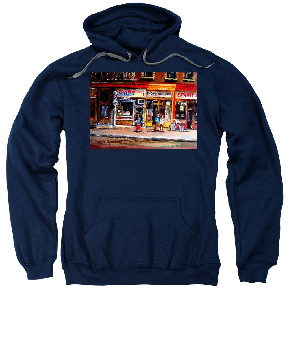 Bernard Barbershop Sweatshirt featuring the painting Bernard Barbershop by Carole Spandau