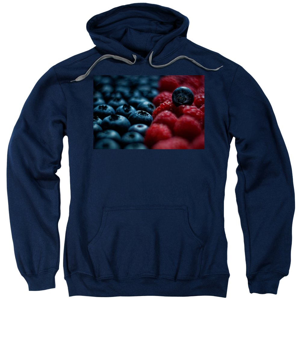 Food Sweatshirt featuring the pyrography Berries by Hanna Tor