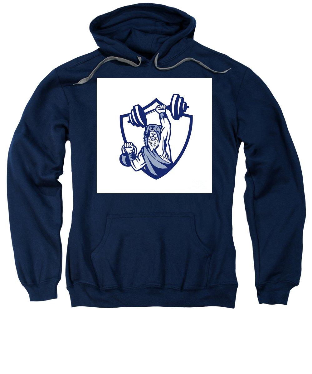 Berserker Sweatshirt featuring the digital art Berserker Lifting Barbell Kettlebell Crest Retro by Aloysius Patrimonio
