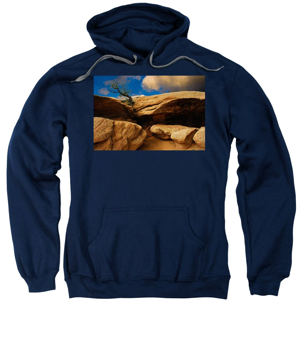 Harry Spitz Sweatshirt featuring the photograph Between A Rock And A Hard Place by Harry Spitz