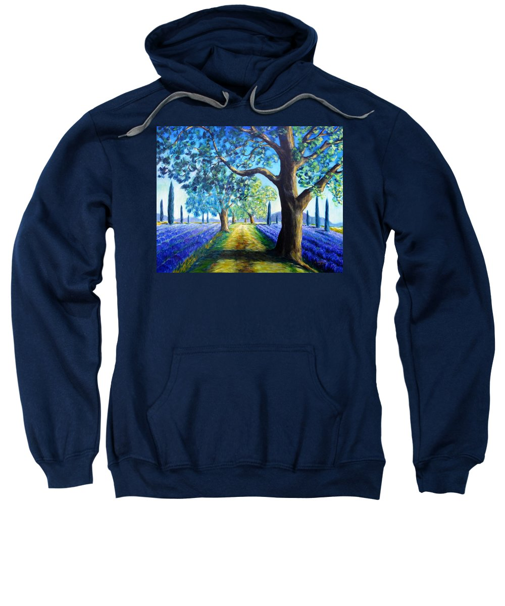 Field Sweatshirt featuring the painting Between The Lavender Fields by Cristina Stefan