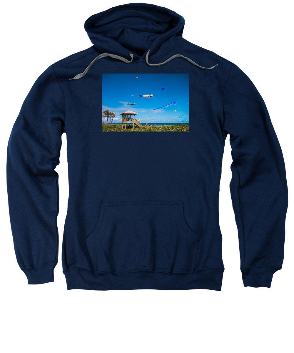 Florida Sweatshirt featuring the photograph Big Kites Delray Beach by Lawrence S Richardson Jr