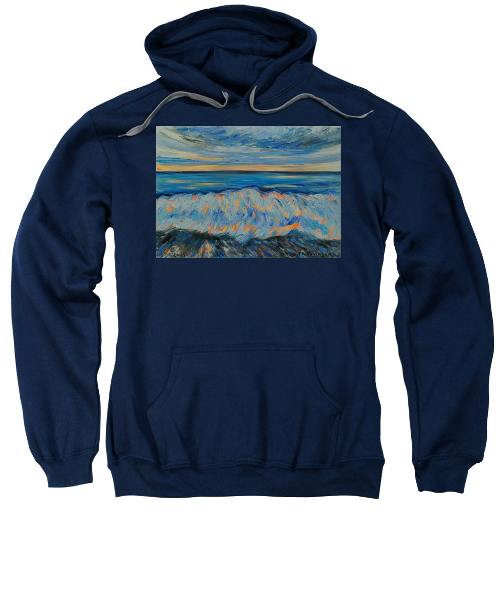 Wave Sweatshirt featuring the painting Big Wave After Storm by Agnieszka Praxmayer