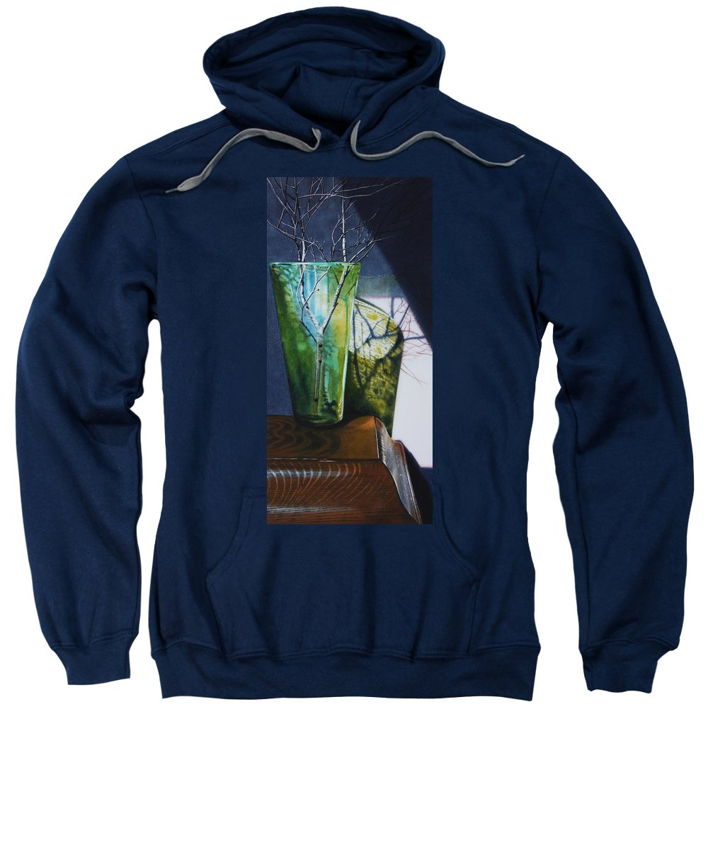 Vase Sweatshirt featuring the painting Birch Branches by Denny Bond