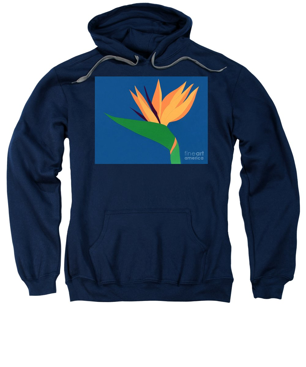 Nature Sweatshirt featuring the drawing Bird Of Paradise by Lucyna A M Green