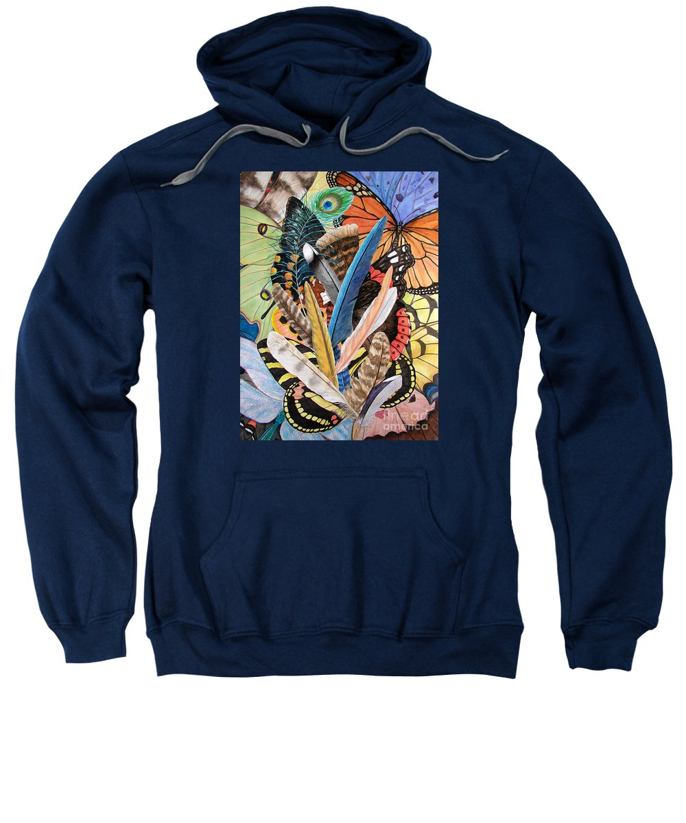 Feathers Sweatshirt featuring the painting Bits Of Flight by Lucy Arnold