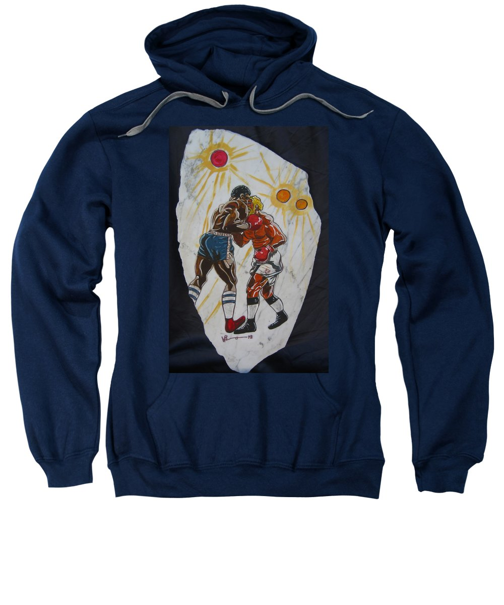 Boxing Sweatshirt featuring the mixed media Black And White by V Boge
