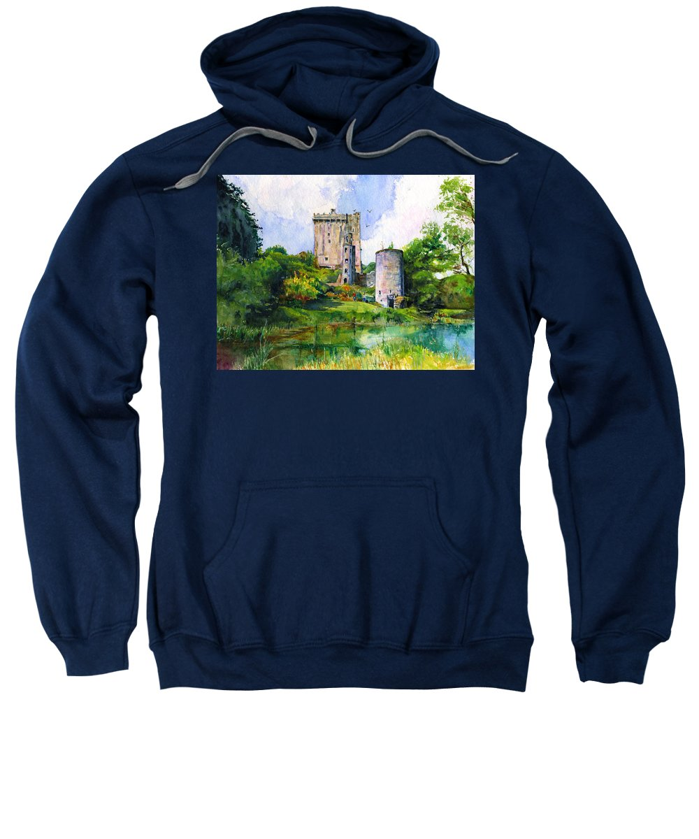 Blarney Castle Sweatshirt featuring the painting Blarney Castle Landscape by John D Benson