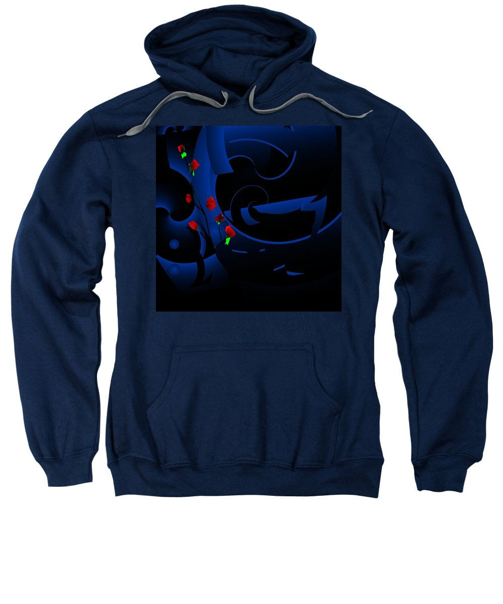 Abstract Sweatshirt featuring the digital art Blue Abstract by David Lane