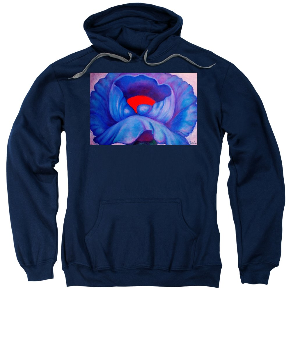 Blue Bloom Sweatshirt featuring the painting Blue Bloom by Jordana Sands
