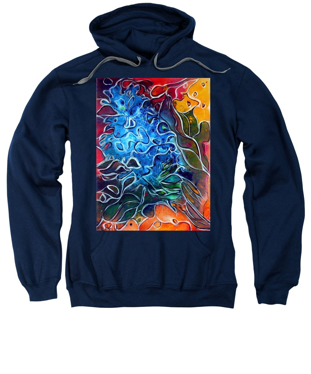 Abstract Sweatshirt featuring the painting Blue Blossom by Luiza Vizoli