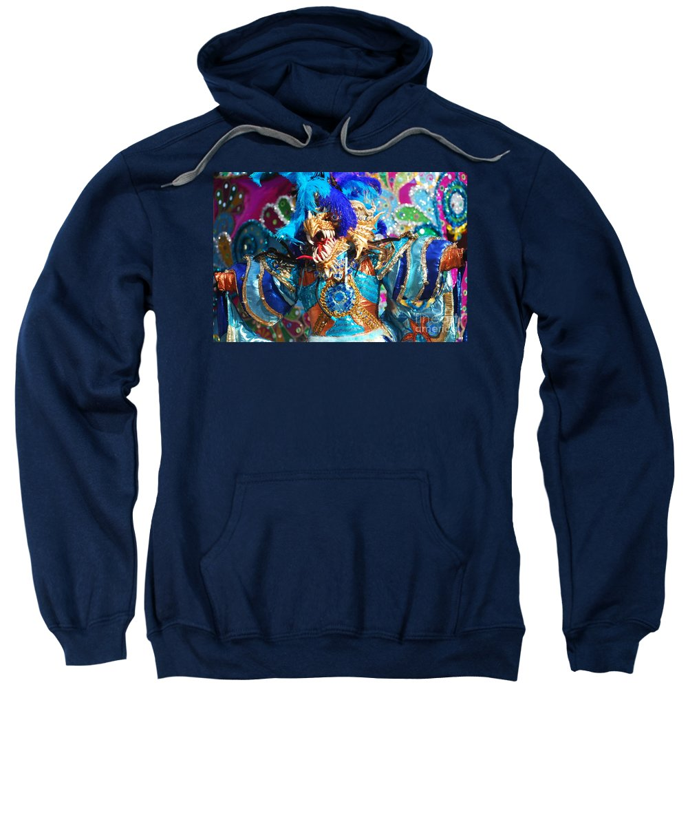 Carnival Sweatshirt featuring the photograph Blue Feather Carnival Costume And Colorful Background Horizontal by Heather Kirk