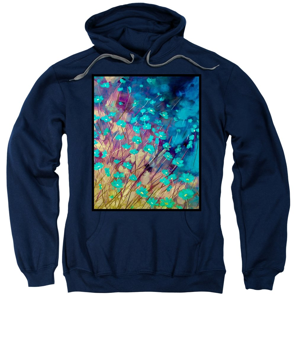 Floral Sweatshirt featuring the painting Blue Flowers by Susan Fuss