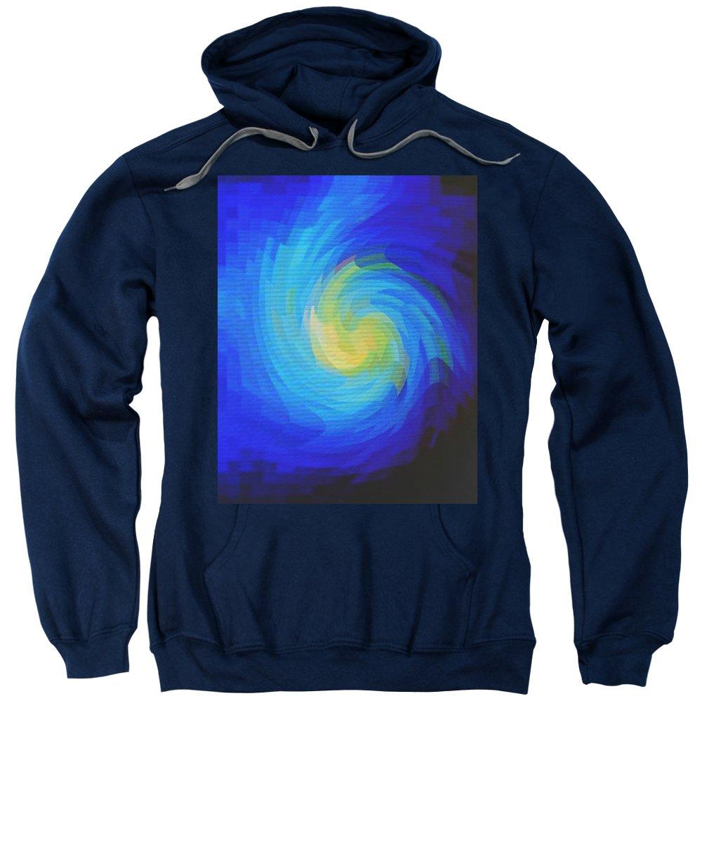 Blue Sweatshirt featuring the digital art Blue Galaxy by Ian MacDonald