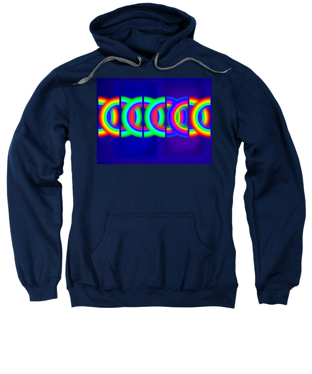Abstract Sweatshirt featuring the painting Blue Games by Charles Stuart