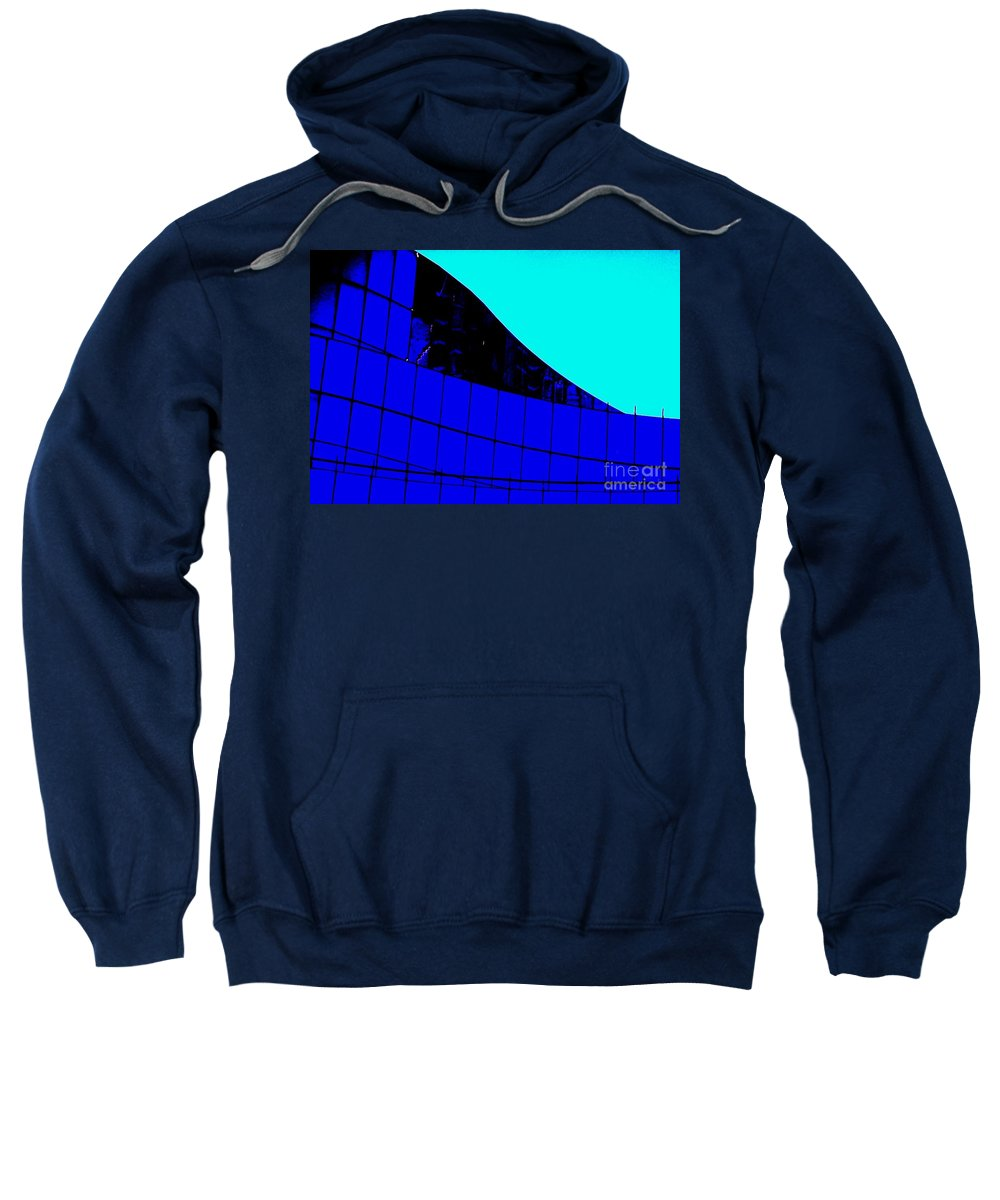 Blue Sweatshirt featuring the painting Blue Glass Abstract by Eric Schiabor