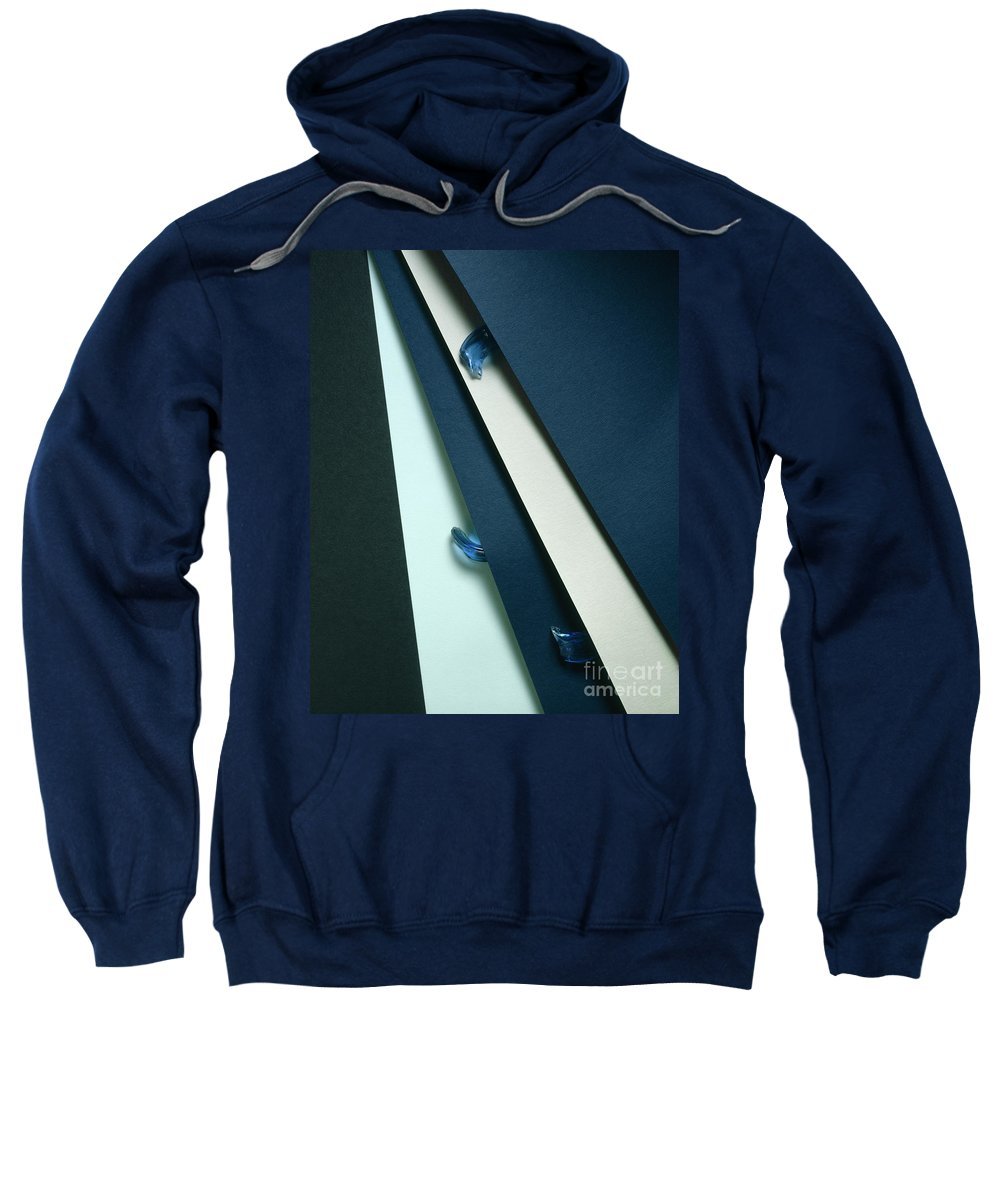 Arty Sweatshirt featuring the photograph Blue Glass And Paper by Stefania Levi