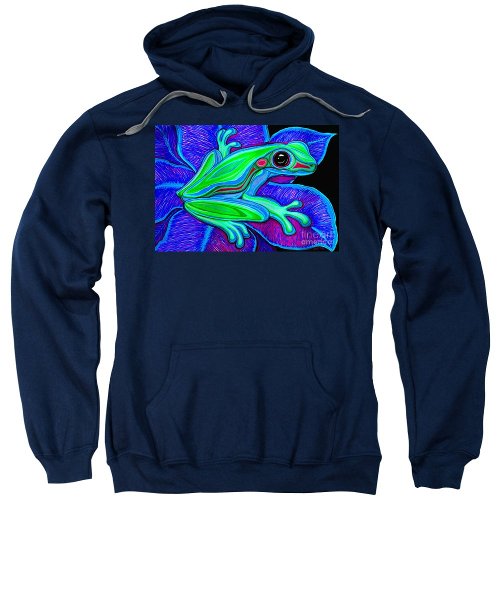 Frog Sweatshirt featuring the drawing Blue Green Frog by Nick Gustafson