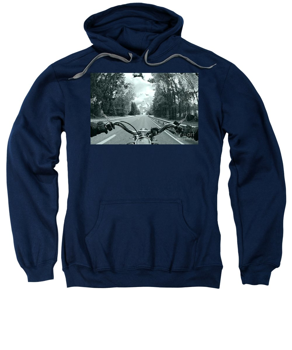 Harley Sweatshirt featuring the photograph Blue Harley by Micah May