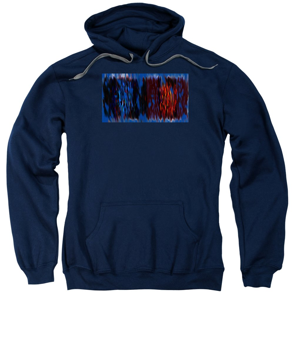 Abstract Digital Art Sweatshirt featuring the painting Blue Liquid by Katey Love