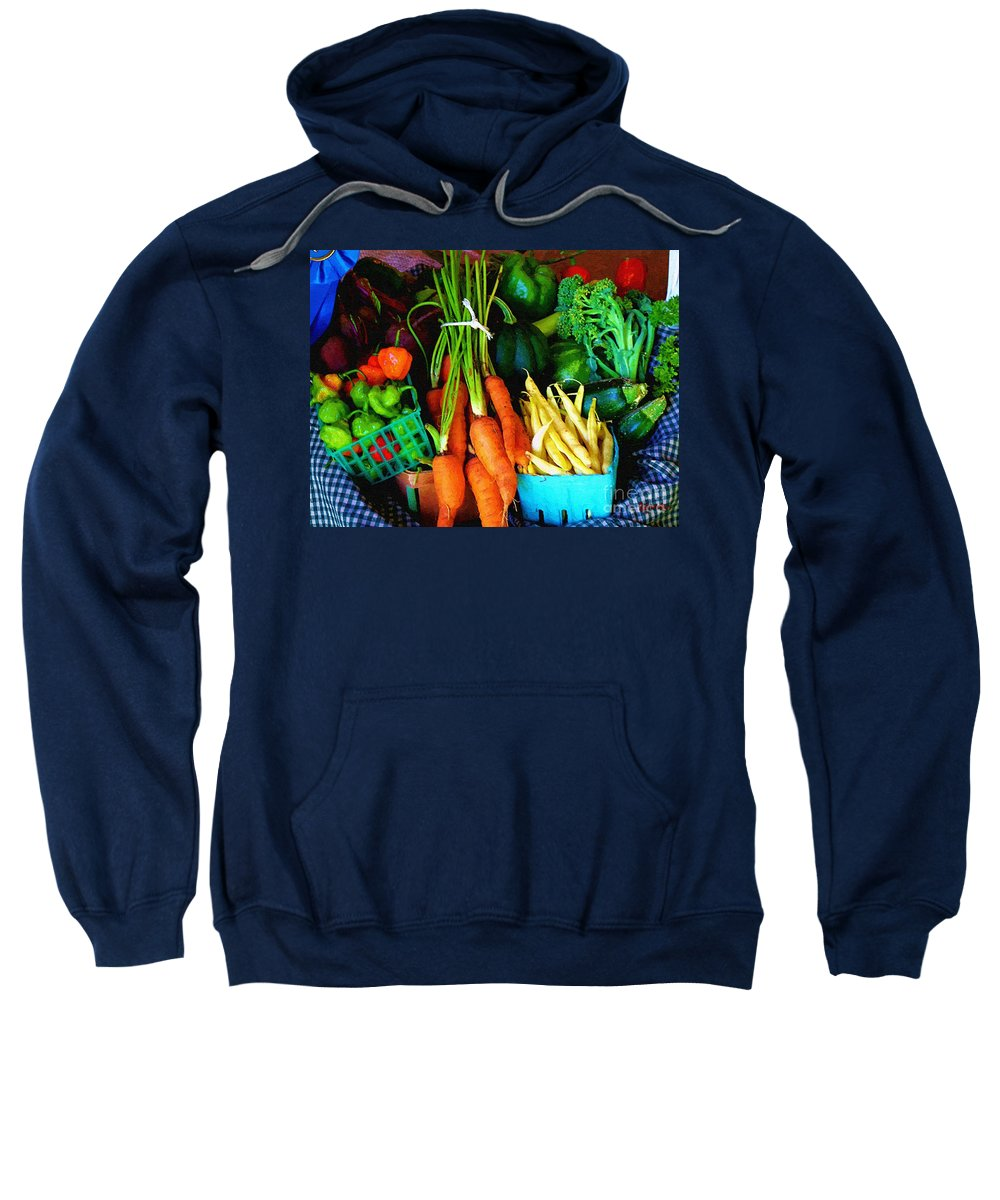 Basket Sweatshirt featuring the painting Blue Ribbon Harvest by RC DeWinter