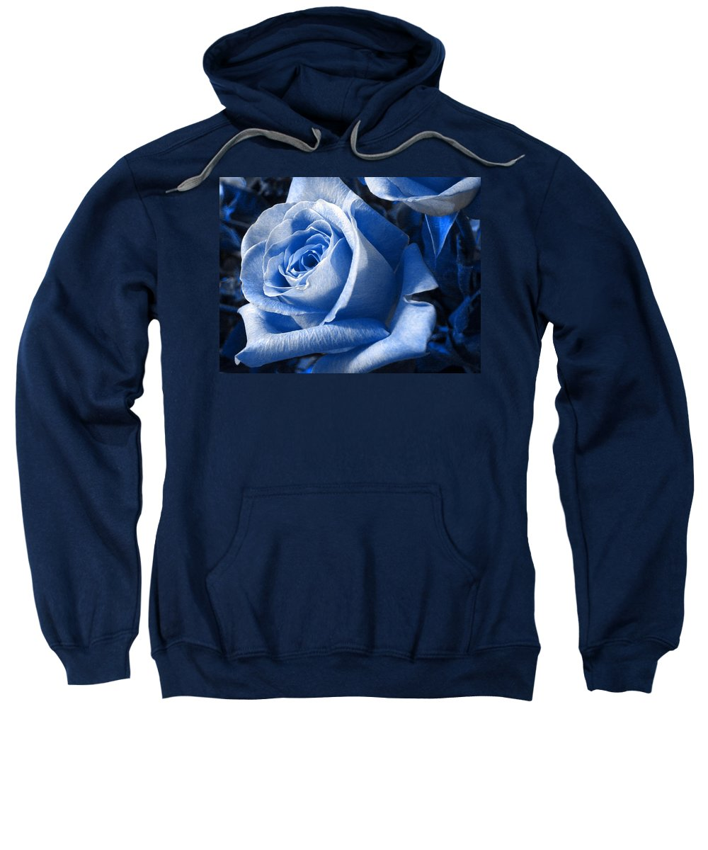 Blue Sweatshirt featuring the photograph Blue Rose by Shelley Jones