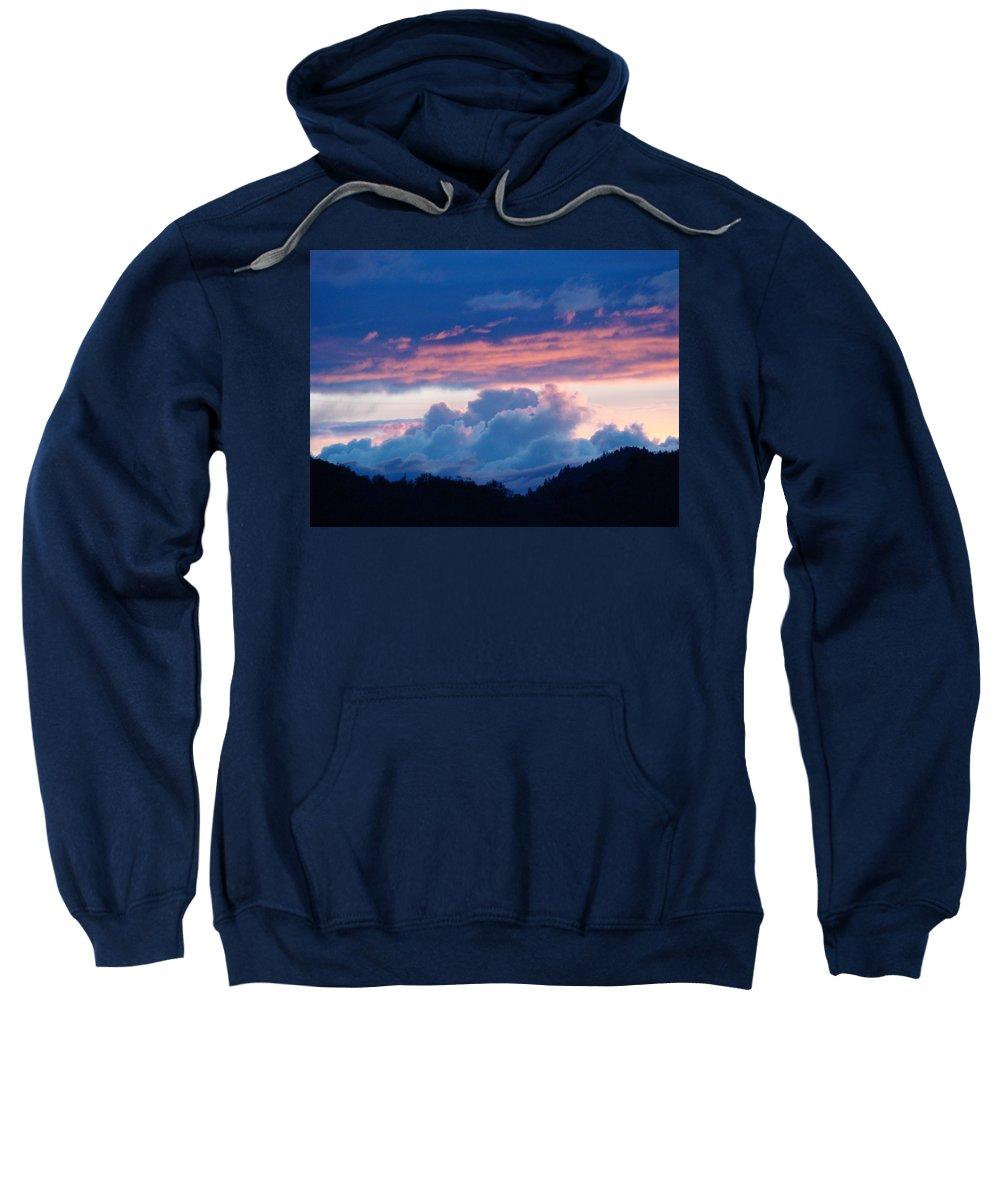 Sunset Sweatshirt featuring the photograph Blue Twilight Clouds Art Prints Mountain Pink Sunset Baslee Troutman by Baslee Troutman