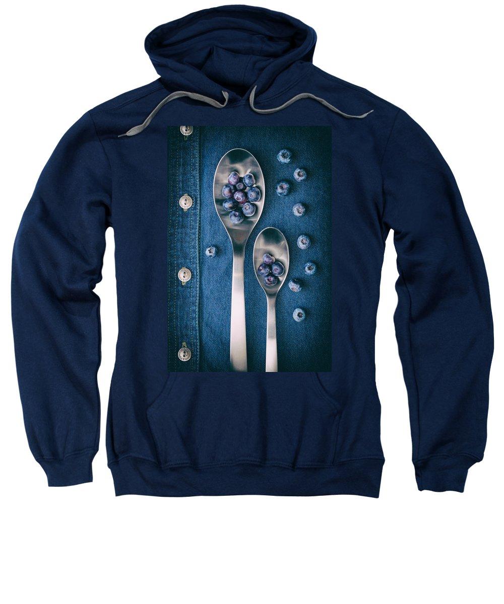 Abundance Sweatshirt featuring the photograph Blueberries On Denim I by Tom Mc Nemar