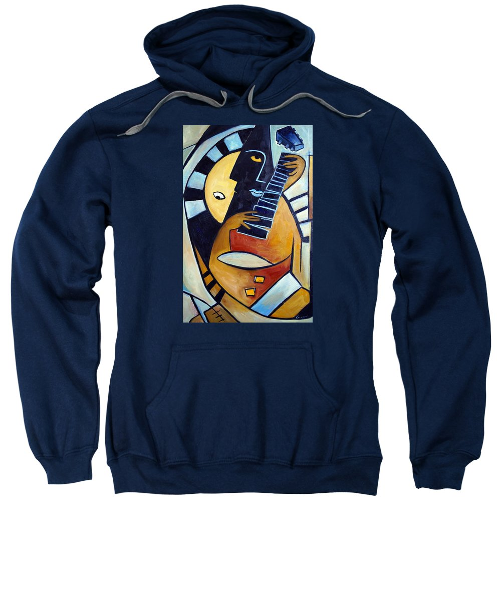 Oil Sweatshirt featuring the painting Blues Guitar by Valerie Vescovi