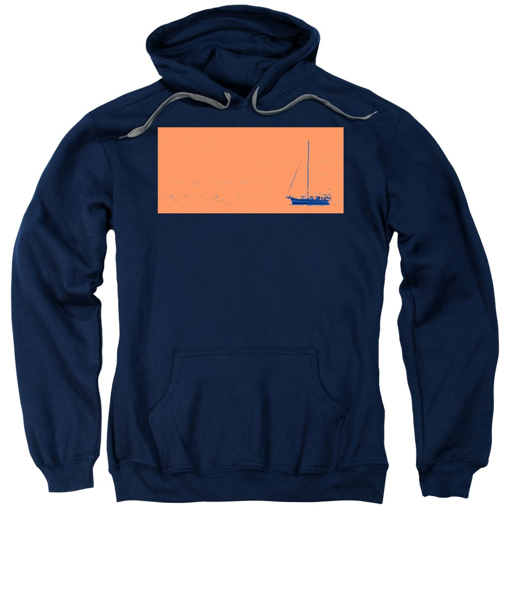 Boat Sweatshirt featuring the photograph Boat On An Orange Sea by Ian MacDonald