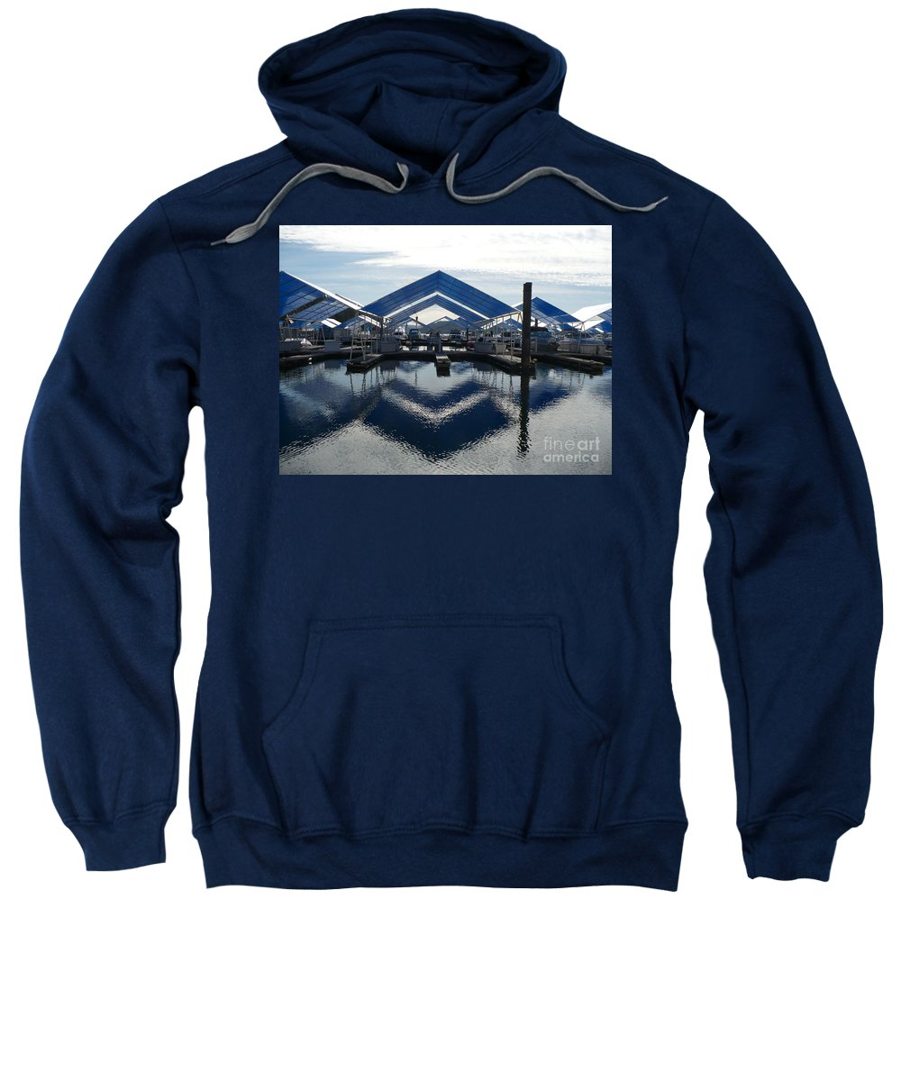 Boats Sweatshirt featuring the photograph Boat Reflection On Lake Coeur D'alene by Carol Groenen