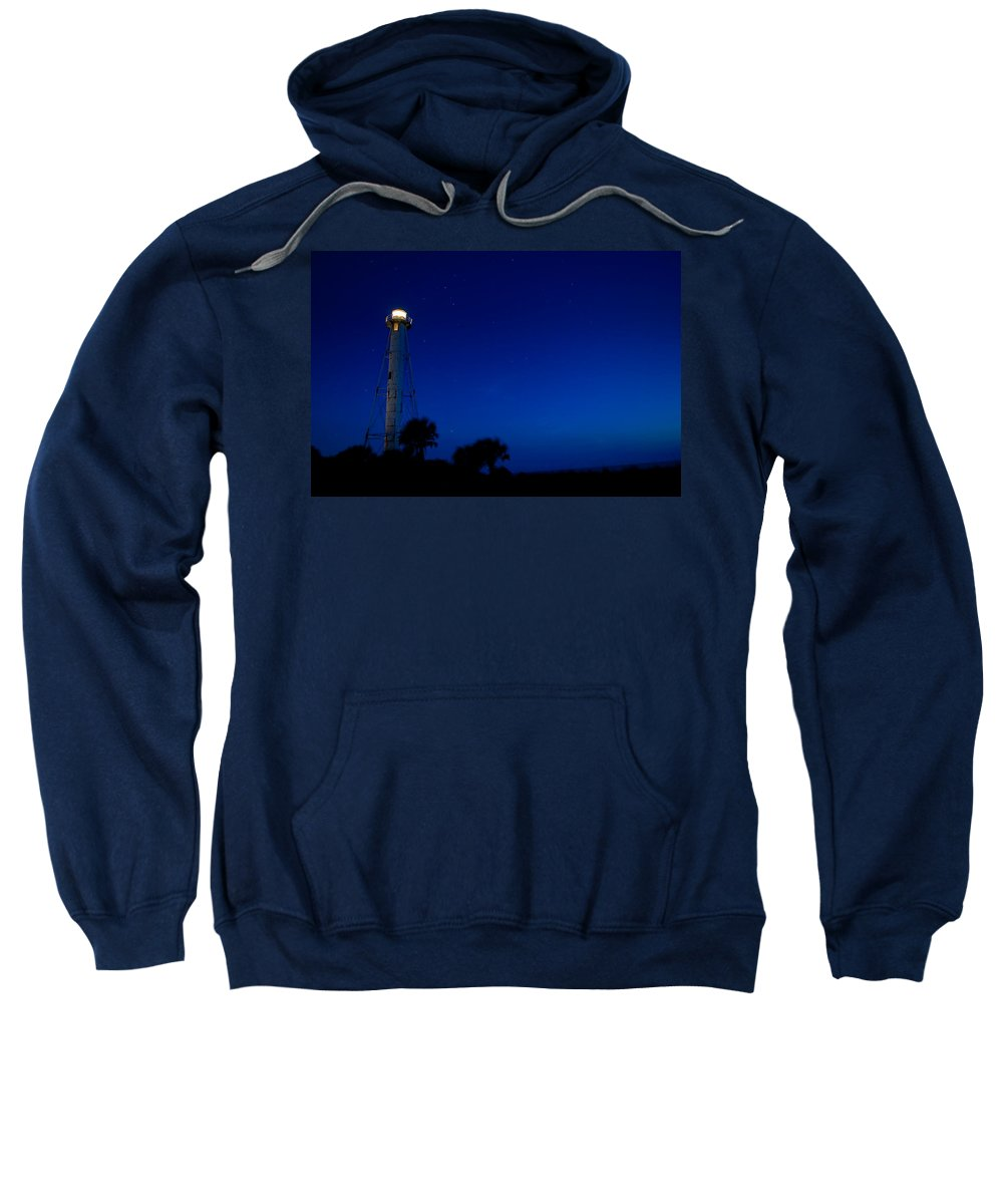 Lighthouse Sweatshirt featuring the photograph Boca Grande Lighthouse On A Starry Night by Rich Leighton