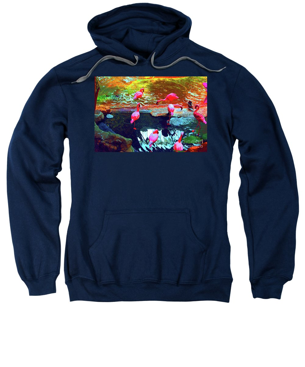 Psychedelic Sweatshirt featuring the photograph Bold Modified Flamingoes by Alice Markham