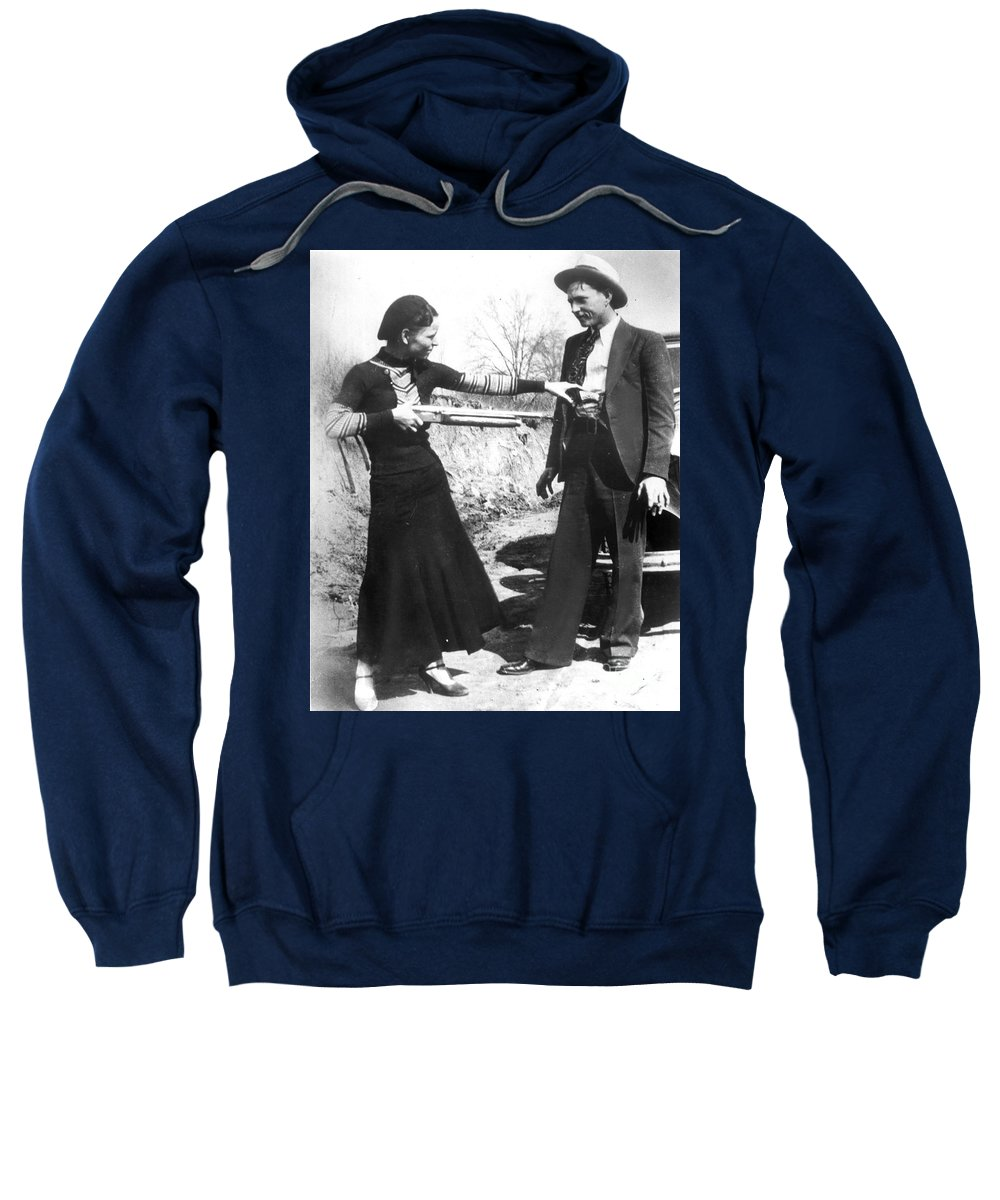 1933 Sweatshirt featuring the photograph Bonnie And Clyde, 1933 by Granger