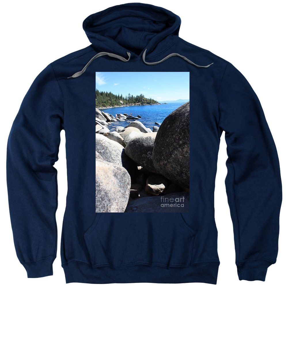 Boulders Sweatshirt featuring the photograph Boulders On Lake Tahoe by Carol Groenen
