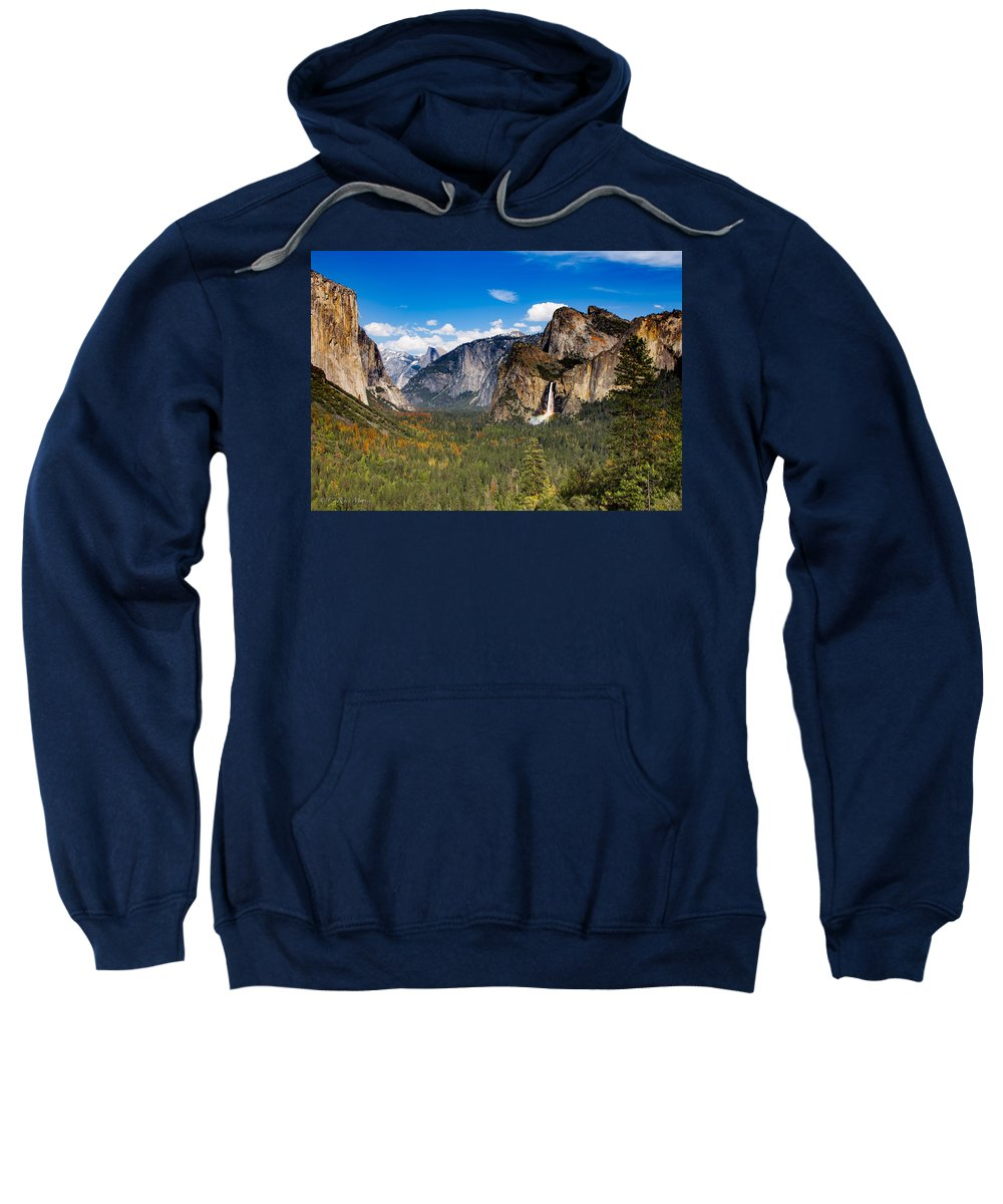 Tunnel View Sweatshirt featuring the photograph Bridalveil Falls Rainbow by C Renee Martin