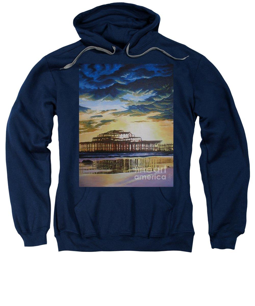 Brighton West Pier Derelict Victorian Sad Beach Sand Sunset Sweatshirt featuring the painting Brighton West Pier by Pauline Sharp