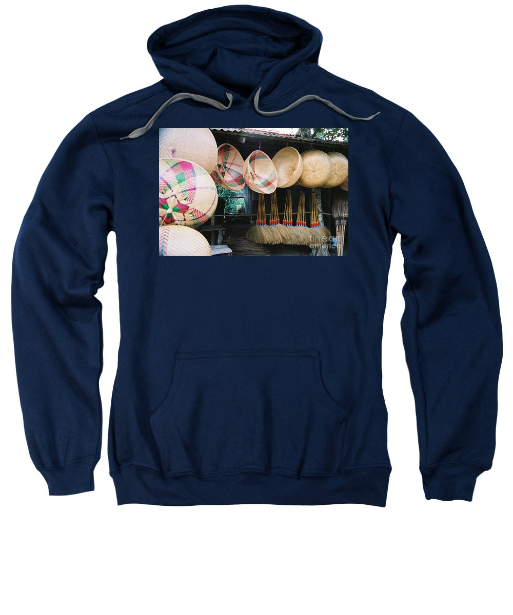 Baskets Sweatshirt featuring the photograph Brooms And Baskets by Mary Rogers