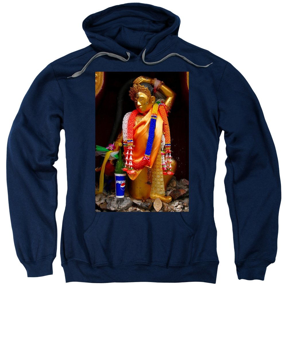 Buddism Sweatshirt featuring the photograph Buddism And Pepsi Shrine by Minaz Jantz
