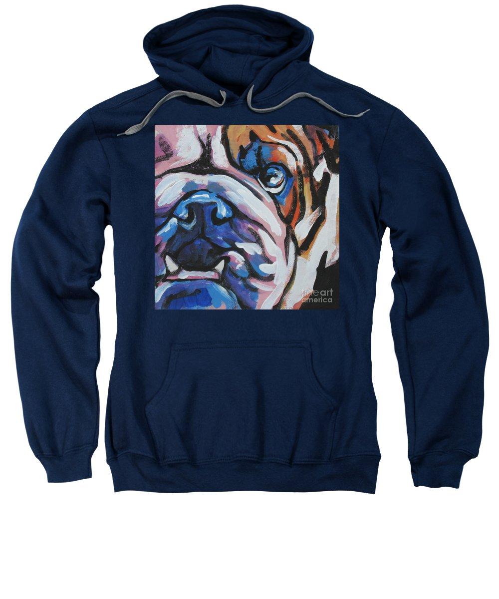 Bulldog Sweatshirt featuring the painting Bulldog Baby by Lea S