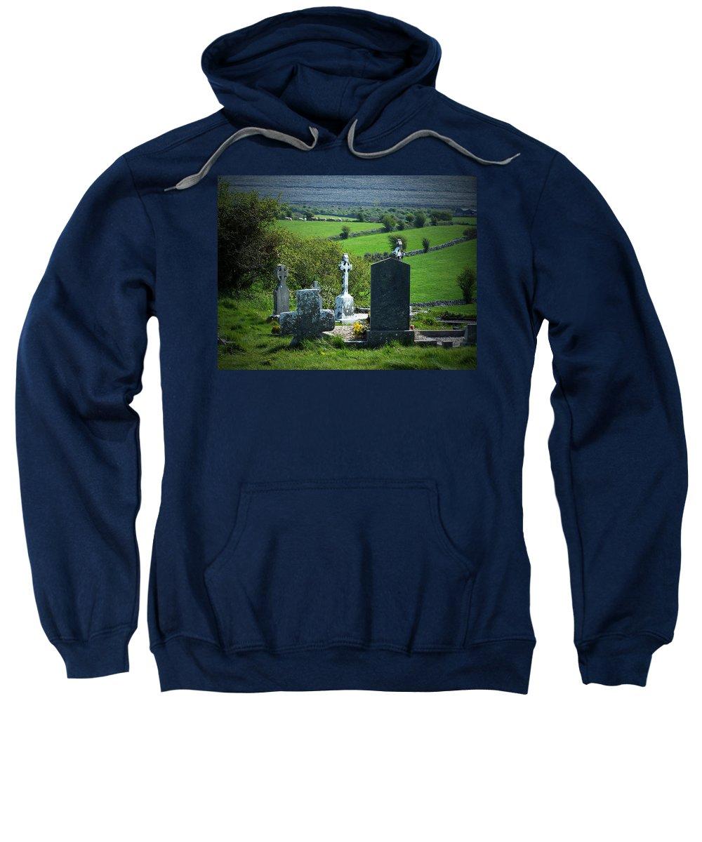Irish Sweatshirt featuring the photograph Burren Crosses County Clare Ireland by Teresa Mucha