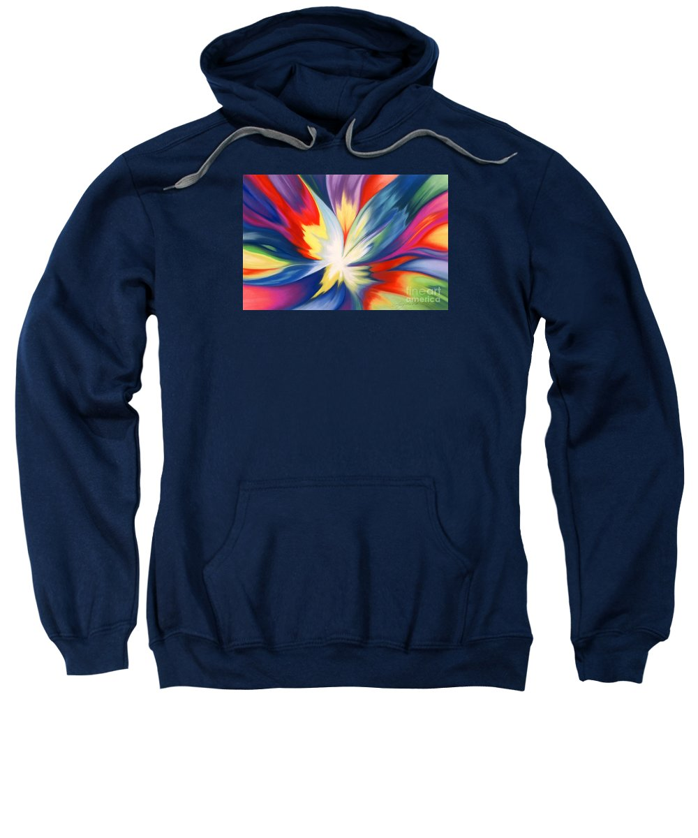 Abstract Sweatshirt featuring the painting Burst Of Joy by Lucy Arnold