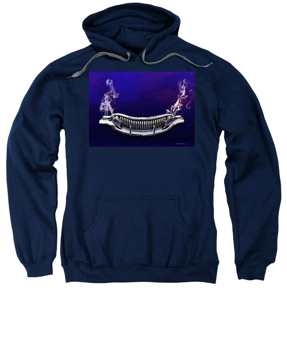 1952 Sweatshirt featuring the digital art Buuick 8 Grille by RT Bozarth